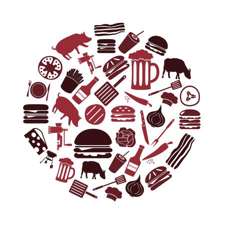 meat grinder: hamburger theme modern simple icons set in circle
