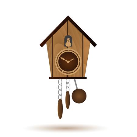 reloj de pendulo: wooden wall pendulum clock with cuckoo vector object
