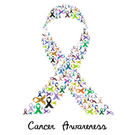świadomość raka różne kolory i błyszczące wstążki za pomoc, jak wielka kolorowa wstążka