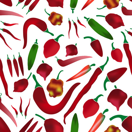 capsaicin: red chilli peppers types of hot chillies simple colorful collection seamless pattern