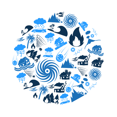 various natural disasters problems in the world blue icons in circle Illustration