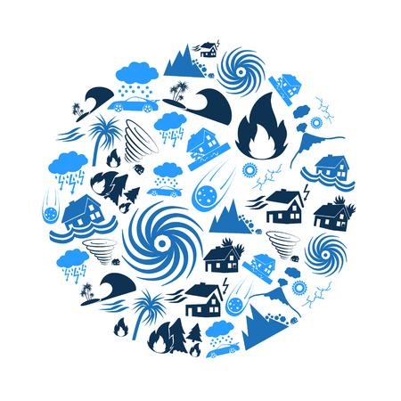 diversos problemas de desastres naturales en el mundo iconos azules en círculo