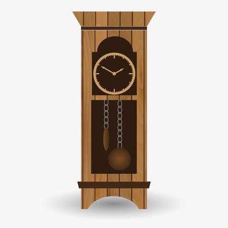 pendulum: wooden floor pendulum clock vector object