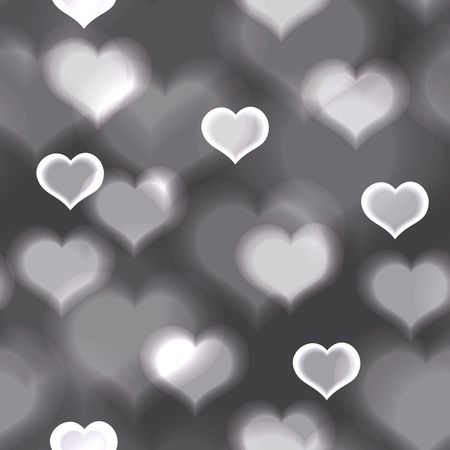 amore: abstract gray love heart lights bokeh valentine pattern.