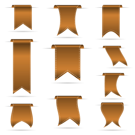 bronze color hanging curved ribbon banners set