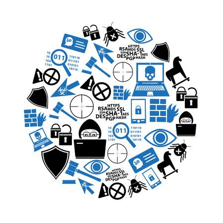 le icone di tema di sicurezza del computer e dell'hacker hanno messo nel cerchio eps10