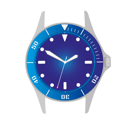 simple modern sport divers style blue watch case and dial object Illustration