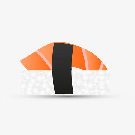 one isolated nigiri sushi with salmon simple icon eps10