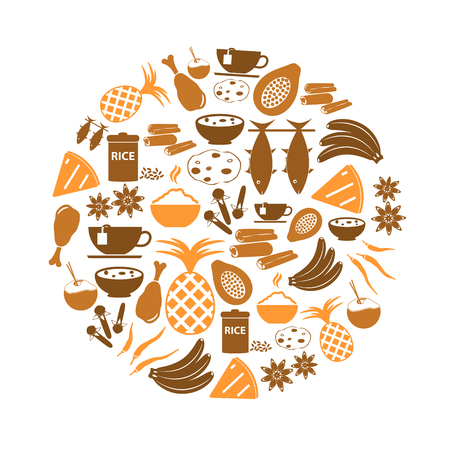 healty eating: indian food theme set of simple icons in circle eps10