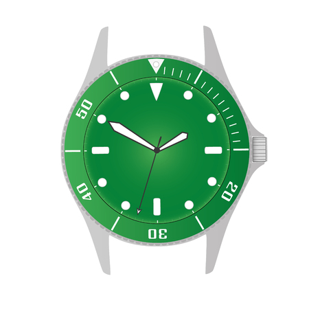 lugs: simple modern sport divers style green watch case and dial object eps10