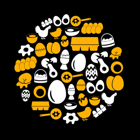 broken eggs: set of egg theme black icons eps10