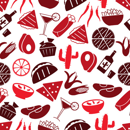 chips and salsa: mexican food theme set of icons seamless red pattern eps10