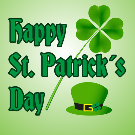 happy saint patrick day with hat and clover eps10