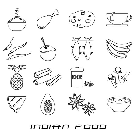 curry rice: indian food theme set of simple outline icons eps10