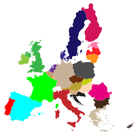 simple all european union color countries in one map eps10