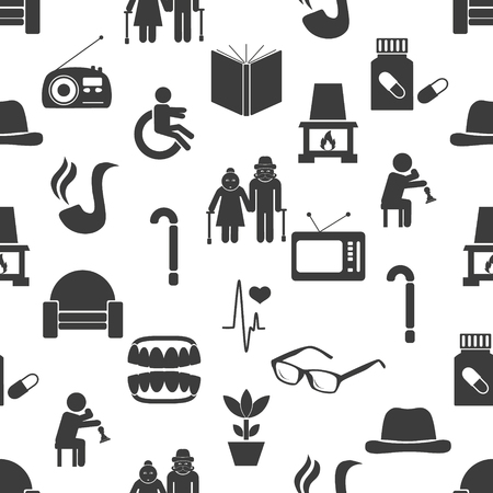 pensioner senior citizen theme set of icons seamless pattern eps10 Illustration