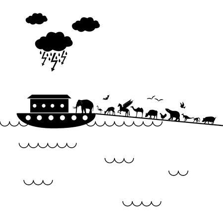 biblican Noah Ark with a lot of animals walking inside eps10 Illustration