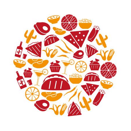 chips and salsa: mexican food theme set of simple icons in circle eps10 Illustration