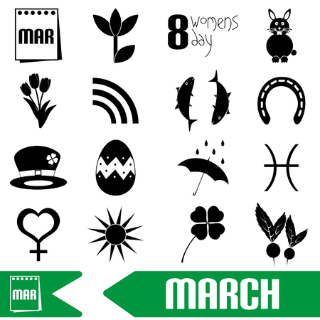 march month theme set of simple outline icons eps10 Illustration
