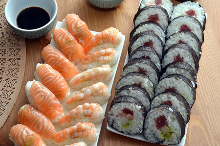 maki sushi rolls and nigiri sushi with salmon and shrimp japan food on the table  Stock Photo