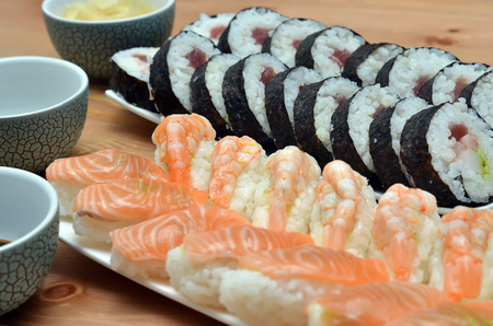 detail of maki sushi rolls and nigiri sushi japan food on the table  Stock Photo