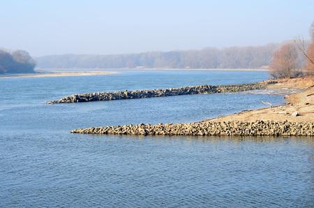 Danube and Morava river confluence near Bratislava city