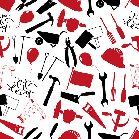 hand trowel: international worker day or labor day theme set of red and black icons seamless pattern eps10