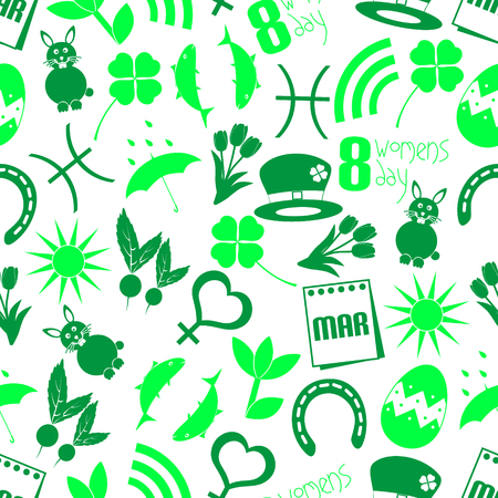 cloverleaf: march month theme set of simple icons seamless green pattern eps10