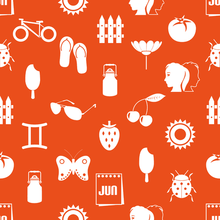 june month theme set of simple icons seamless pattern eps10