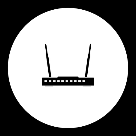 conputer: wireless conputer network router simple black icon eps10