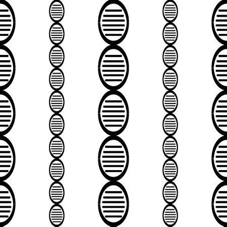 black and white DNA genome simple seamless pattern eps10
