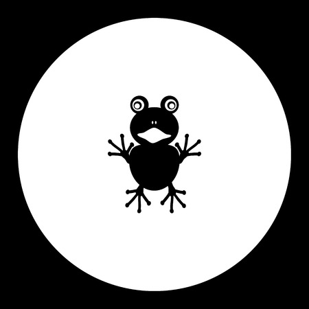 One little frog simple silhouette black icon eps10