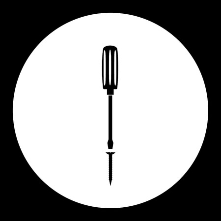 Screw and screwdriver, simple silhouette black icon, eps10