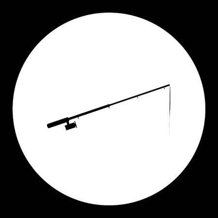 Fishing rod, simple silhouette black icon, eps10