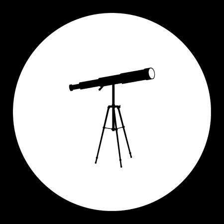 Stargazer telescope, simple silhouette black icon, eps10