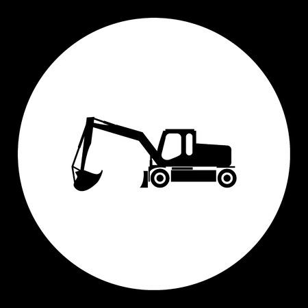 Construction excavator simple silhouette black icon