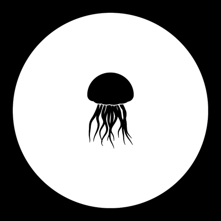 Jellyfish from ocean simple silhouette black icon