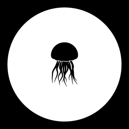Kwallen van oceaan eenvoudig silhouet zwart pictogram Stock Illustratie