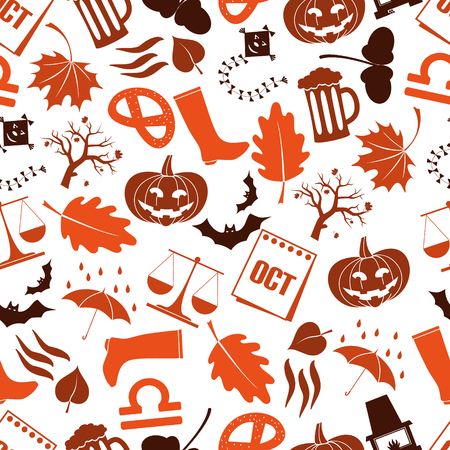 October month theme set of icons seamless pattern