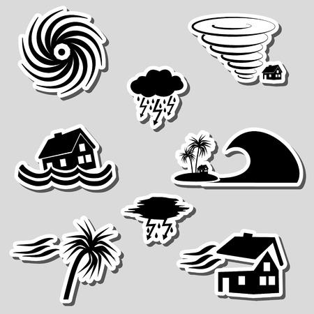 Orkaan natuurramp probleem stickers set Stock Illustratie