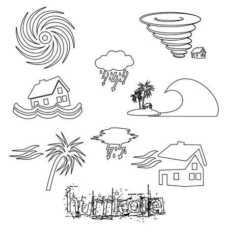 Hurricane natural disaster problem outline icons set Иллюстрация