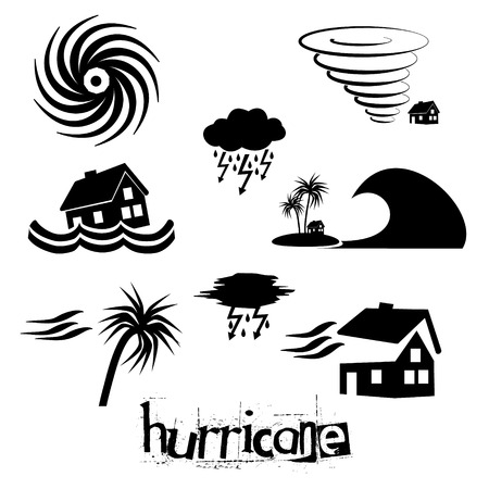 Hurricane natural disaster problem icons set