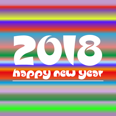 happy new year 2018 on colorful abstract stripped background eps10 Illustration
