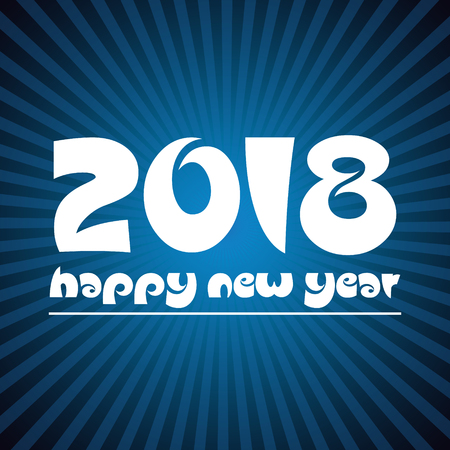 happy new year 2018 on blue stripped background eps10