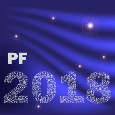 blue shiny curved happy new year pf 2018 from little snowflakes eps10
