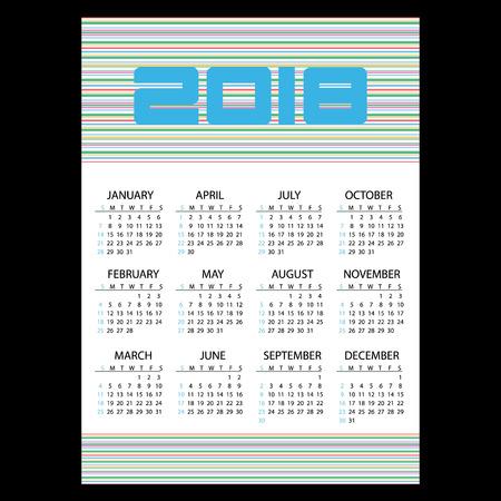 Calendário de parede de negócios simples 2018 com linhas horizontais eps10 Ilustración de vector