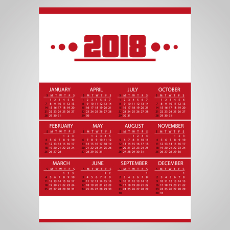 2018 simple business red wall calendar with white eps10