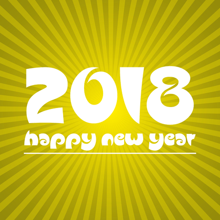 happy new year 2018 on sunny stripped background eps10