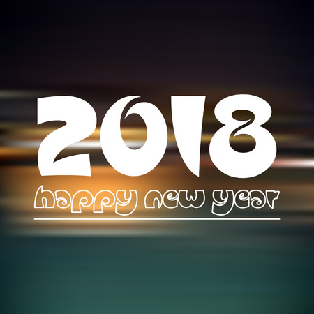 happy new year 2018 on dark color night horizontal abstract background eps10 Illustration