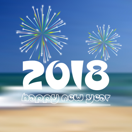happy new year 2018 on blue beach like abstract color background with fireworks eps10